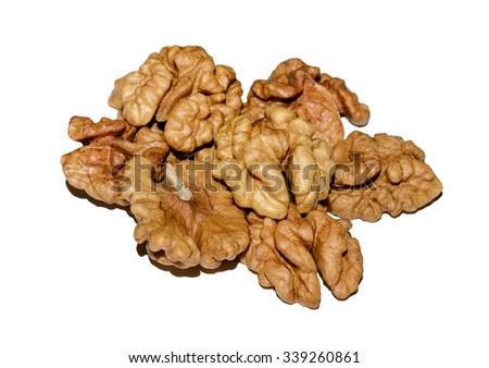 Walnut kernels isolated on a white background. Walnut kernels. Walnut kernels. Walnut kernels. Walnut kernels. Walnut kernels. Walnut kernels. Walnut kernels. Walnut kernels. Walnut kernels. Walnut  - stock photo