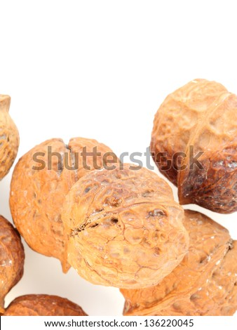 walnut on white background