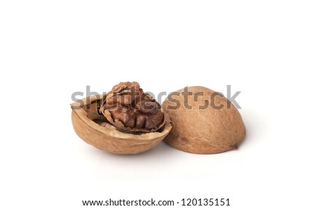 Walnut shell isolated on white
