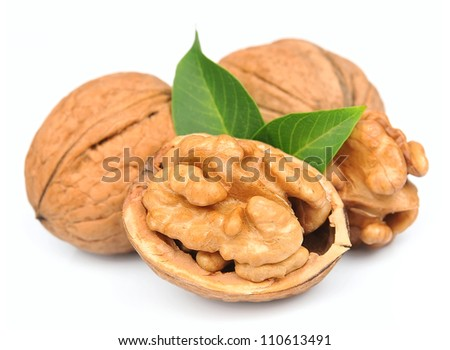 walnuts close up on white - stock photo