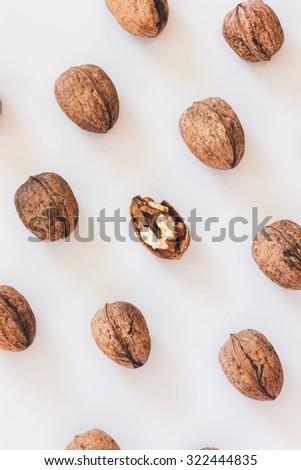 Walnuts in a unique pattern - stock photo
