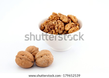 Walnuts in a white bowl