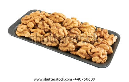 Walnuts in package, isolated on the white background - stock photo