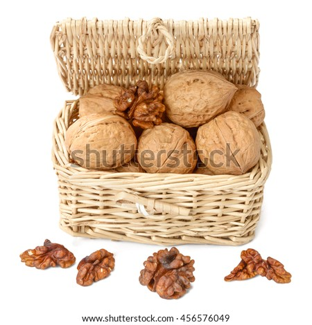 walnuts in the basket, isolated