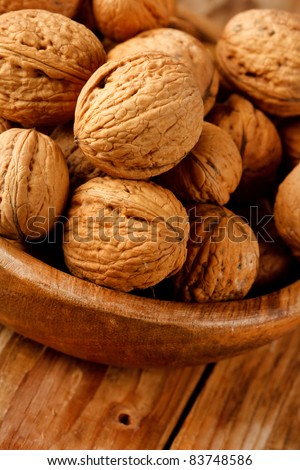 walnuts in the dish - stock photo