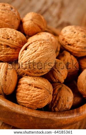 walnuts in the wood dish