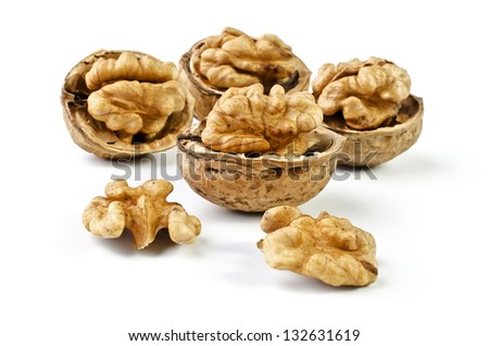 Walnuts, isolated on a white background - stock photo