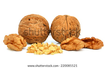 Walnuts isolated on the white background - stock photo