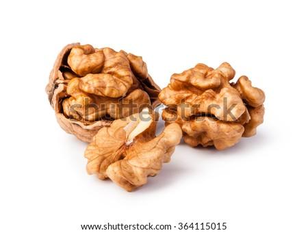 walnuts isolated on white background - stock photo