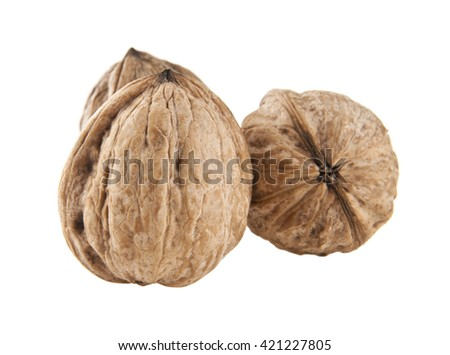 walnuts isolated on white background closeup - stock photo