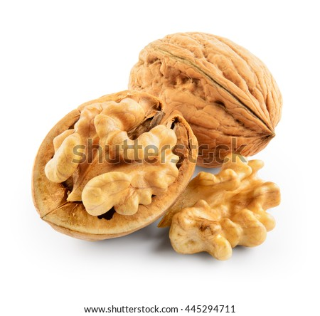 Walnuts isolated on white background. With clipping path.