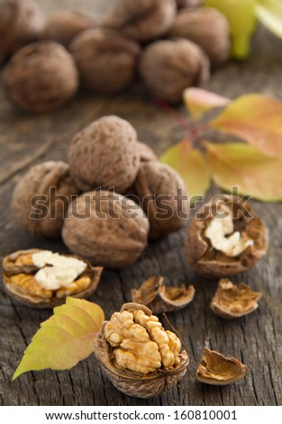 Walnuts on the old board.