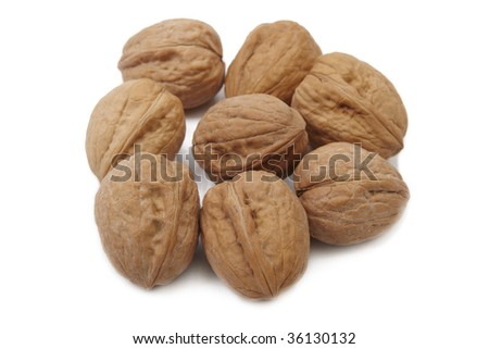 Walnuts on white background. Close up image