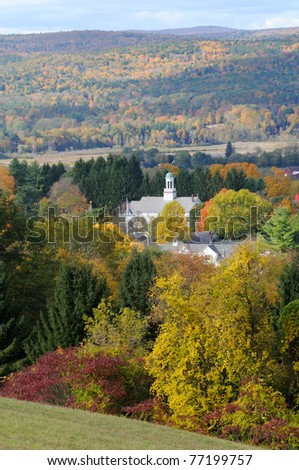 Walpole, New Hampshire in the fall. Small New England town in the Connecticut River Valley. Vermont Blue Mountains on the background. - stock photo