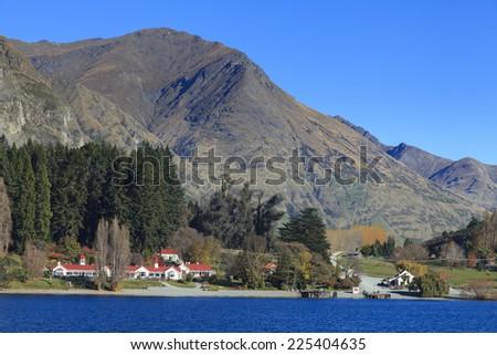 Walter Peak High Country Farm on the western shore of Lake Wakatipu, Queenstown, Otago region, New Zealand. - stock photo