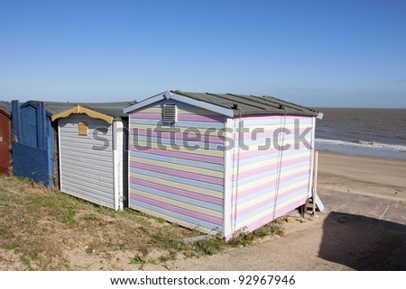 walton sea front in essex looking across the beach from beach huts