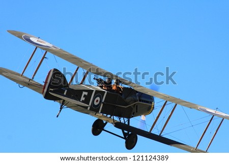 "WANAKA MARCH 03: Bristol F.2B vintage aircraft flies during the royal New Zealand air force 75th anniversary""Warbirds Over Wanaka"" airshow on March 03, 2012 in Wanaka New Zealand - stock photo"
