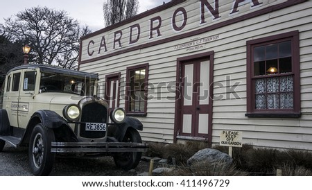 WANAKA, NEW ZEALAND - SEP 22, 2015: Historic Cardrona Hotel built in 1863 near the town of Wanaka. It is one of the last remaining occupied buildings of the Central Otago gold rush days.