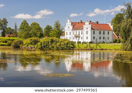 Wanas Slott is a castle in Ostra Goinge Municipality, Scania, in southern Sweden. It is situated to the west of Knislinge. - stock photo