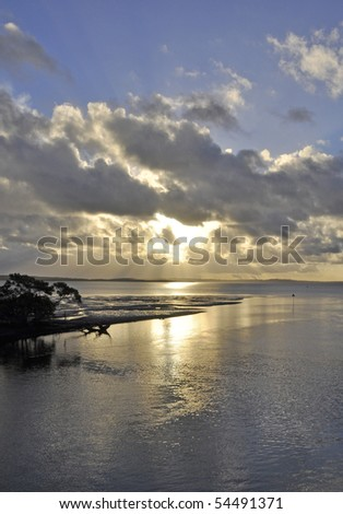 Wanggoolba Creek at dusk, Fraser Island Queensland Australia - stock photo