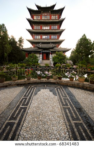 Wangulou tower on the top of Lion hill, Lijiang near Zhongdian, china - stock photo