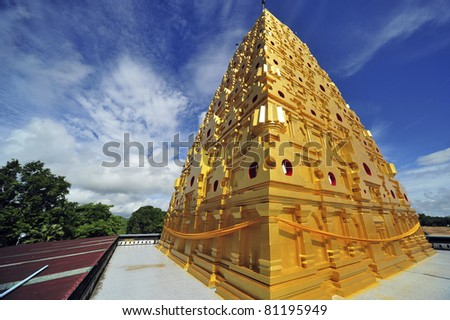 Wangwiwegaram Temple,Golden Pagoda Indian style in West of Thailand