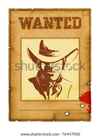 Wanted poster background with portrait of bandit for design on white - stock photo