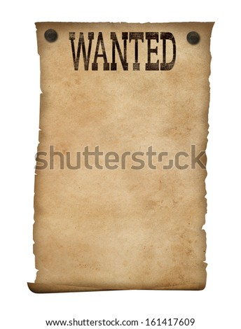 Wanted poster isolated. Wild west background. - stock photo
