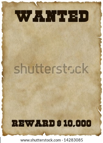 Wanted poster (with clipping path)