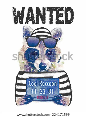 Wanted Vintage Western Poster/ T-shirt Graphics / watercolor illustration raccoon / cute animal character / Funny outlaw / cute graphics for kids / T-shirt printing graphics - stock photo