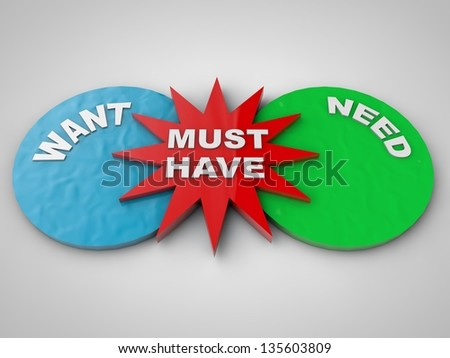 wants and needs and must have symbolized - stock photo