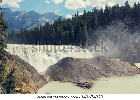 Wapta Falls in Yoho National Park in British Columbia, Canada. - stock photo