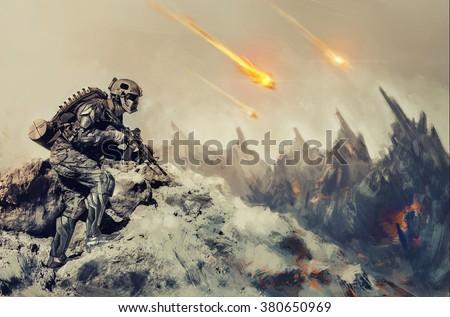 War an alien planet - stock photo