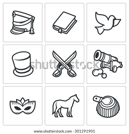 War and Peace icons set. Isolated Flat Icons collection on a white background for design - stock photo