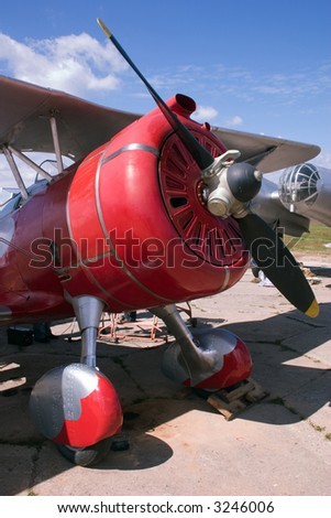 war biplane - stock photo