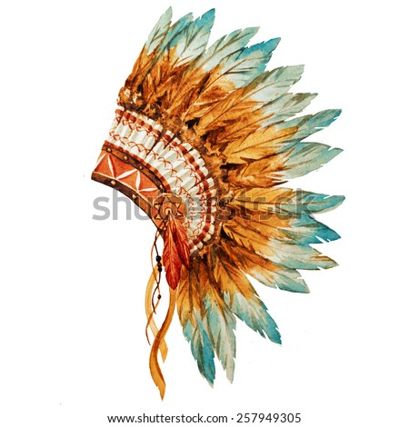 war bonnet, watercolor, feathers - stock photo