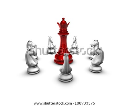 war, conflict idea, chess figurines isolated on white, red chess queen and horses - stock photo