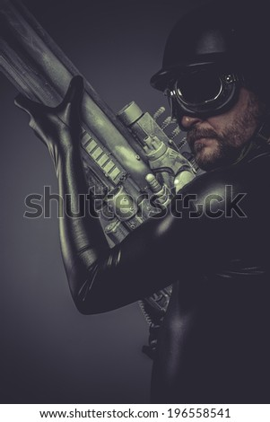 War, Future soldier with huge weapon, sci-fi scene