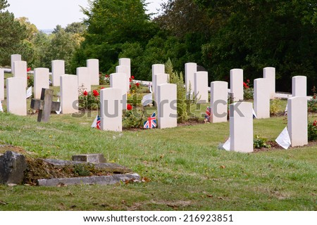 War graves with Union Jack flags