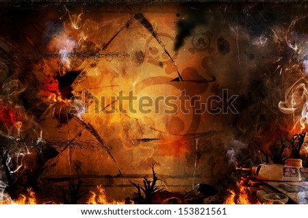 War military grunge fire and smoke background - stock photo