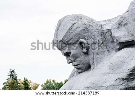 War monument in the Brest Fortress, Brest, Belarus. It is one of the Soviet World War II war monuments commemorating the Soviet resistance against the German invasion on June 22, 1941 - stock photo