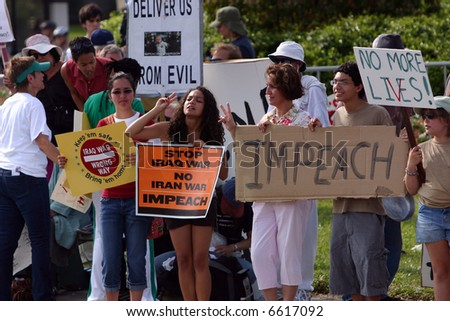War protest - People with anti war signs. - stock photo