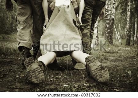 War scene concept. Fascism. Captivity. - stock photo