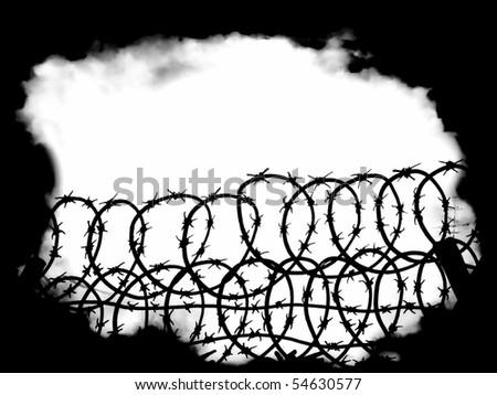war scenes with barbed wire fence and black fog background design - stock photo