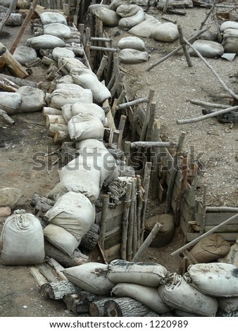 "war set decoration for movie ""Guards of Riga"" - stock photo"