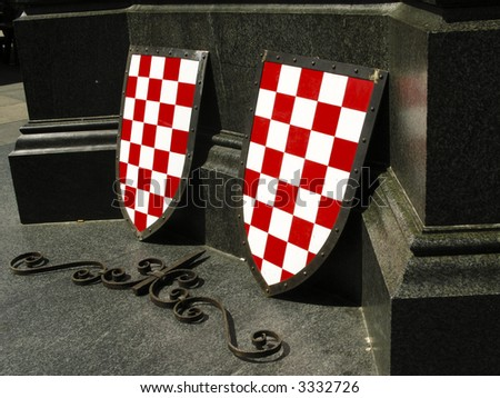War shield with croatian colors on the street exhibition - stock photo
