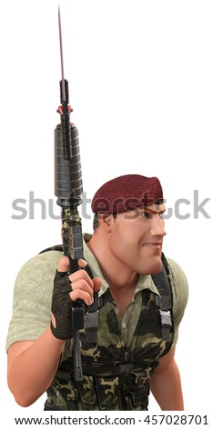 war soldier waiting for command 3d illustration - stock photo
