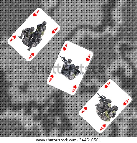 War strategy game. Army deployment on the map. Ace of Hearts in combat. Special unit to fight terrorists. Cards are dealt on the table. - stock photo