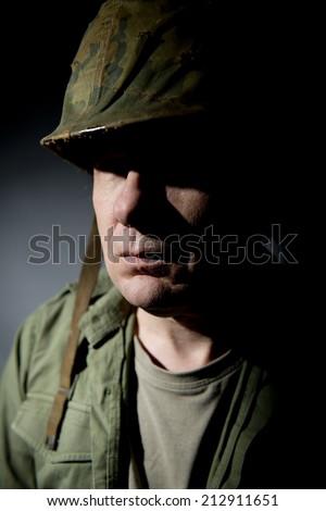 War Veteran In Shadow - stock photo