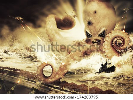 War with a large evil sea monster - octopus alien - stock photo
